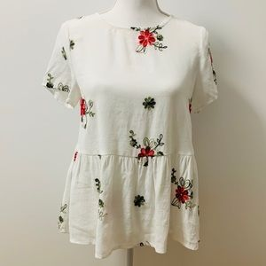 Flower Embroidered Keyhole Back Smock Top-XS